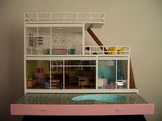 shopping sherpa - vintage modern dollhouse with pool