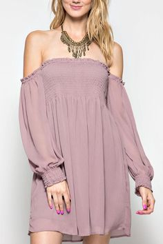 DUSTY MAUVE LONG SLEEVE OFF SHOULDER DRESS WITH SMOCKING Spring Breeze Dress by She  Sky. Clothing - Dresses - Off The Shoulder Oklahoma
