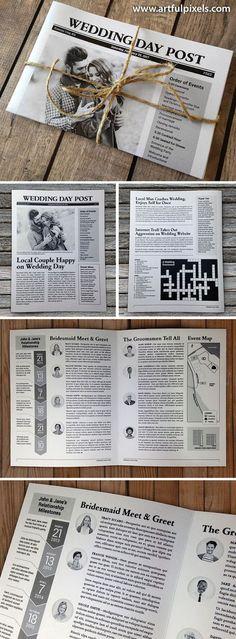 ein Überblick von einer Hochzeitszeitung Idee, das Design von allen Seiten