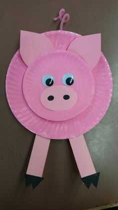 Pig paper plate craft. Charlotte's Web farm theme.