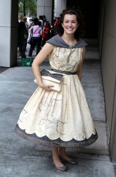 Very geeky: a dress printed with a map of Middle Earth.