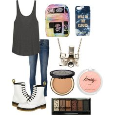 School look by hellofashion22 on Polyvore featuring polyvore, fashion, style, LnA, Frame Denim, UNIF, Kiel Mead Studio, Kate Spade, Boohoo, Too Faced Cosmetics and Dr. Martens