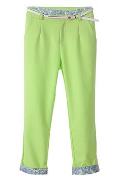 ROMWE Floral Hems Belted Green Pants