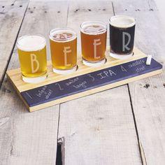 Bamboo and Slate Craft Beer Tasting Flight Board with 'beer' Engraved Glasses ('beer' Tasting Board), Black