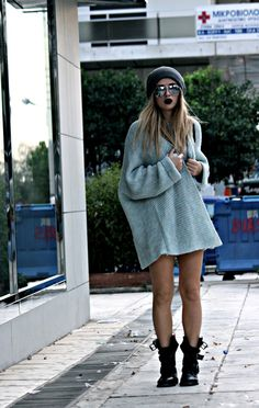 Seriously all day everyday ... Mirrored sunglasses, oversized charcoal grey sweater and chunky boots.