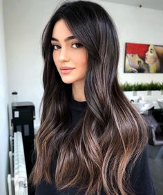 Black Hair With Highlights, Hair Color For Black Hair, Black Hair Dyed Brown, Black Hair Ombre, Long Black Hair, Balyage On Black Hair, Lowlights For Black Hair, Black Blonde Hair, Balayage Highlights Brunette