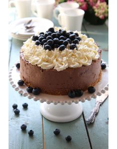 Blueberry Chocolate, Chocolate Cheesecake, Let Them Eat Cake, Food And Drink, Baking, Desserts, Cakes, Deco, Mascarpone