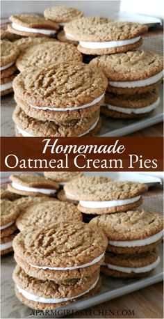 dessert recipes 213076626109016662 - Oatmeal Cream Pies are a soft and chewy oatmeal cookie sandwiched together with a delicious butter cream filling. These homemade oatmeal cream pies are one of my most popular treats. Source by AFarmgirlskitchen Oatmeal Cream Cookies, Cookies And Cream, Oatmeal Dessert, No Bake Oatmeal Bars, Oatmeal Cake, Cream Pie Recipes, Cookie Recipes, Dessert Recipes, Fun Baking Recipes