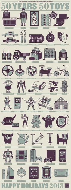 "Bellissima infografica con 50 anni di giochi! ""50 Years for 50 Toys"" Happy Holidays 2013 #INFOGRAHIC by Abby Ryan Design"