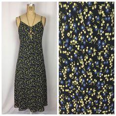 Vintage EXPRESS Blue Floral Long Lace Trim Maxi Slip Dress. 90's Grunge. Medium  | eBay