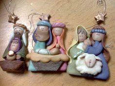 presepio Nativity Ornaments, Nativity Crafts, Clay Ornaments, Christmas Nativity, Noel Christmas, Christmas Crafts, Christmas Decorations, Christmas Ornaments, Nativity Scenes