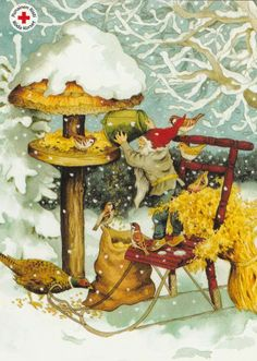 Feathered friends in winter ~<*>~ (gnome, elf, Christmas birds)