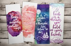 Musings of an Average Mom: Free Printable Bookmarks Creative Bookmarks, Cute Bookmarks, Paper Bookmarks, Bookmark Craft, Watercolor Bookmarks, Bookmark Ideas, Handmade Bookmarks, Watercolour, Marque Page