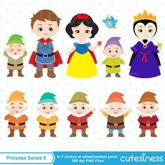 Princess Series 5 Digital Clipart : 25 Graphics  ----------------------- ★★ Package Included ★★-----------------------------------  *You will received a total of 25 Files in PNG Format with TRANSPARENT background, Size of 6~7 Inches at tallest/widest point of 300 DPI resolution.  * 13 Characters Total  - Snow White and Prince comes with Multiple Poses each as shown  - 7 Dwarfs characters  - 4 animals characters * Background, Paper, and other supporting items as shown. * 1 Poster for High Res…