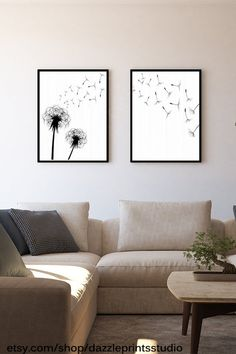 TWO PIECE WALL art Instant Download Print dandelion print | Etsy