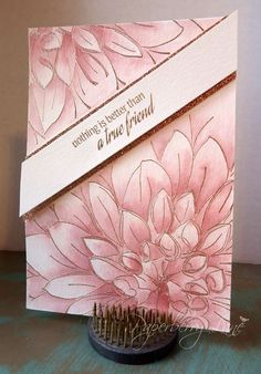 handmade greeting card ... beautiful large dahlia ... line art embossed in gold ... gorgeous monochrmatic tonal watercoloring in dusty rose ... Paperberry Lane ...