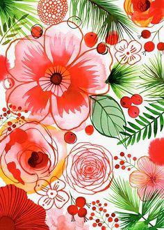 Margaret Berg / Magrikie Holiday Illustration  / Christmas Flowers, Hibiscus and Berries Art Print.