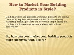 How to Market Your Bedding Products in Style?  Home City, Inc. is located in Edison, NJ USA. We are Certified Egyptian Cotton Linens Direct Wholesaler. We import our items from all over the world. We offer items such as but not limited to Bed Sheets, Duvet Sets, Pillowcases, Towels, Comforters, Bedding Sets, Robes, etc.  #beddingsheets