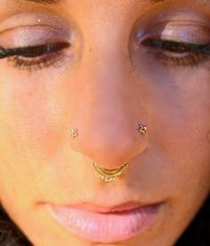 Nose Bone 14kt Yellow Gold or 14kt White Gold Nose Ring Prong Set CZ Accent 24G Solid 14Kt Gold Nose Bone Stud Nose Stud 0.5mm
