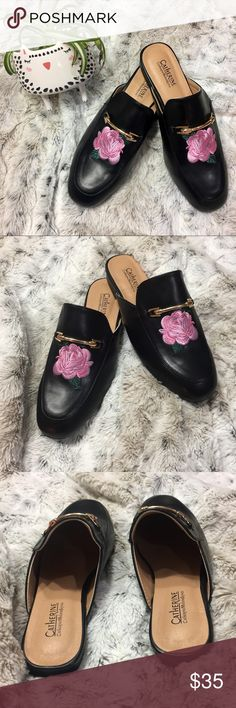 """🆕 Catherine Malandrino embroidered mules Get in on the trend of mixing masculine shapes and feminine detail.  These beautiful black mules boast classic gold hardware with a modern embroidered floral twist. Modern classic style at its best.  NWOT   """"020"""" on bottom of right sole and light wear on the sole due to being tried on in the store. Otherwise like new. No wear to the footbed or outer body. 😱😍 Catherine Malandrino Shoes Mules & Clogs"""
