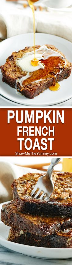 This Pumpkin French Toast Recipe is made w/ pumpkin bread that's filled w/ chocolate & butterscotch chips. Bring out the maple syrup for an easy, cozy, fall breakfast! showmetheyummy.com #frenchtoast #pumpkin