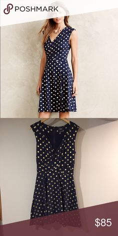 Anthropologie Maeve Navy and gold polka dot dress Medium heavy cotton zipped back with pockets dress from Anthropologie by Maeve Anthropologie Dresses