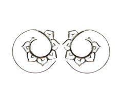 Silver Hoop Earrings- Yoga wear - Spiral Earrings- Lotus Earrings - Tribal jewelry- Fusion-  Boho earrings - Piercing. by Tribal jewelry wholesale