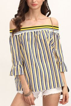 Stripe pieces for spring outfit #Yellow #Blouse #maykool #offshoulder #stripe #fashion #women
