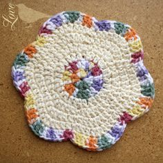 ***change to potholder w/cotton Love The Blue Bird: Flower Dish Cloths. Crochet Potholders, Crochet Motifs, Crochet Squares, Crochet Doilies, Crochet Flowers, Dishcloth Crochet, Crochet Ideas, Crochet Round, Double Crochet