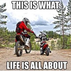Dirt bike adult and child.
