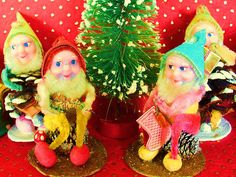 Vintage Christmas elves.  My sister and I saved the ones we had from our childhood.  We also have some pine cone figures that look like birds.