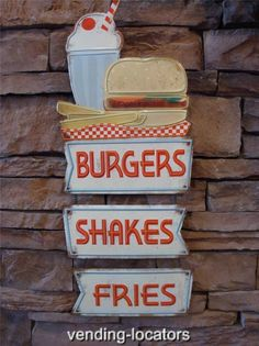 Embossed Burgers Shakes Fries Metal Sign Restaurant Cafe Pub Grill Store Display | eBay
