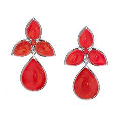 Orange coral drop earrings