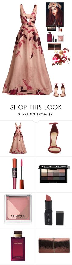 """Fall event"" by eliza-redkina ❤ liked on Polyvore featuring Lela Rose, Schutz, Maybelline, Bobbi Brown Cosmetics, Clinique, Smashbox, Dolce&Gabbana and Nina Ricci"