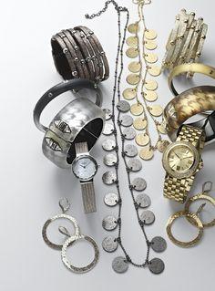 "Cara Sliced Leather Bracelet, Alexis Bittar Hinge Bracelet, Skagen Denmark Bezel Watch, Michael Kors ""Lucy"" Watch, Nordstrom Long Strand Necklace, & Judith Jack Hoop Earrings #Nordstrom #NSale"
