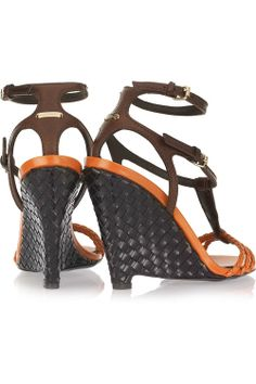 AUTHENTIC Burberry Prorsum Braided Woven brown orange Leather Wedge Sandals SALE!