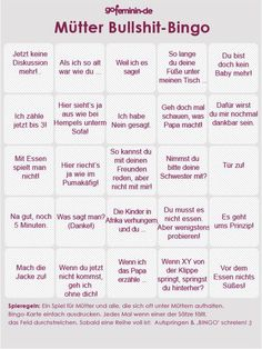Mütter Bullshit Bingo - bin gespannt, wann du deine erste Bingoreihe voll hast