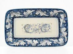 Hand Painted Italian Ceramic 13-inch Rectangular Tray Rinascimento Blu e Bianco - Handmade in Gubbio, Italy