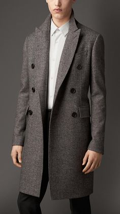 Sharkskin Wool Blend Topcoat | Burberry