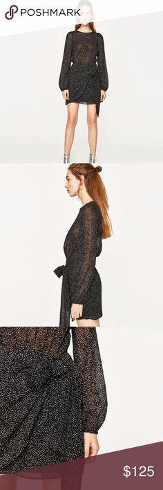 ZARA Crossover Polka Dot Knot Semi Sheer Dress S New without tag Zara Dresses Mini