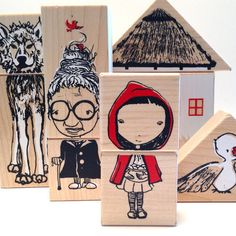 fairytale mashup wooden blocks and puzzle stacking by fidoodle, $28.00