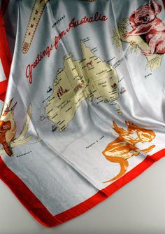 'Greetings from Australia' souvenir scarf from The Siddons Scarf Collection, donated by B.M. Barnard.  #australia