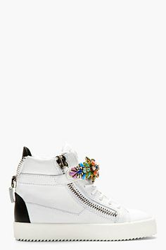GIUSEPPE ZANOTTI White Jewel-Embellished High-Top Sneakers