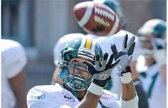 Fred Stamps makes a catch during the Eskimos practice at Commonwealth Stadium in Edmonton, July 17, 2012.