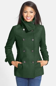 Free shipping and returns on Thread & Supply Double Breasted Peacoat (Juniors) at Nordstrom.com. Tortoiseshell-patterned buttons elevate a double-breasted peacoat detailed with classic button-tab cuffs.