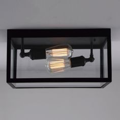 Rectangular Frame Glass Shaded LOFT 2-light Flush Mount
