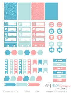 FREE Teal & Cantaloupe Planner Stickers | Free printable download by Vintage Glam Studio