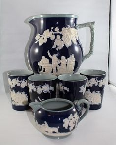 Antique English Earthenware Copeland Spode Water Pitcher & Tumblers #CopelandSpode