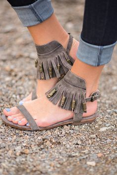 Treasures Are Mine Fringe Leather Sandal (Charcoal) - NanaMacs.com #fashion #sandals #boho