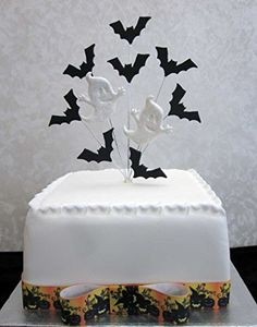 halloween cake topper with bats and glittery ghosts suitable for a 20cm cake karens cake toppers